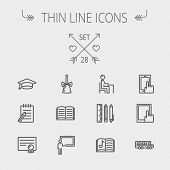 stock photo of teachers  - Education thin line icon set for web and mobile - JPG