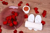 stock photo of pedicure  - Spa bowl with water - JPG