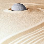 stock photo of purity  - zen stone background sand lines for balance relaxation and meditation concept for purity spirituality serenity calmness peaceful harmony simplicity relax copyspace - JPG