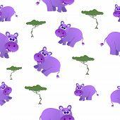 image of hippopotamus  - Seamless pattern of cute hippopotamus and trees - JPG