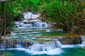 picture of cataract  - Huay Mae Khamin waterfall is one of the most beautiful waterfall in thailand - JPG