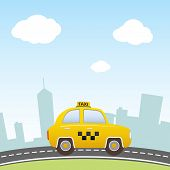 stock photo of suburban city  - Cartoon Taxi on city background - JPG