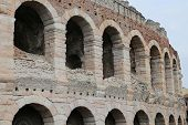 pic of arena  - detail of the exterior walls of the ancient Roman Arena in Verona in Italy - JPG