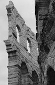 image of arena  - detail of the exterior walls of the ancient Roman Arena in Verona - JPG