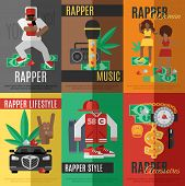 stock photo of rapper  - Rap music mini poster set with rapper style clothing and accessories isolated vector illustration - JPG