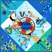 stock photo of life-boat  - Scuba diving concept with diver and underwater life icons vector illustration - JPG