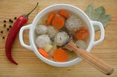 picture of meatball  - Soup with meatballs potatoes carrots and spices - JPG