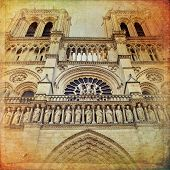 foto of notre dame  - The Cathedral of Notre Dame de Paris in vintage style France - JPG