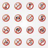foto of restriction  - Prohibited symbols set  - JPG