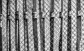stock photo of wooden fence  - Chainlink wire fence nailed to a wooden slat fence in black and white - JPG