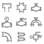 stock photo of pipeline  - Set of black flat line vector icons for pipeline elements on white background - JPG