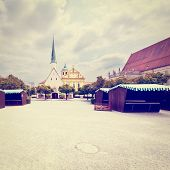 picture of bavaria  - Altotting in Bavaria Market Square at the Early Morning Retro Effect - JPG