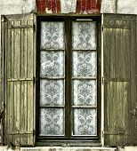 image of french culture  - French Window with Open Wooden Shutter Vintage Style Toned Picture - JPG