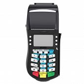 pic of automatic teller machine  - Bank credit card terminal on a white background - JPG
