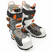 stock photo of ski boots  - Hiking boots black  - JPG