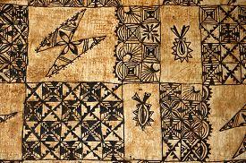 stock photo of samoa  - background of traditional Pacific Island tapa cloth a barkcloth made primarily in Tonga Samoa and Fiji - JPG