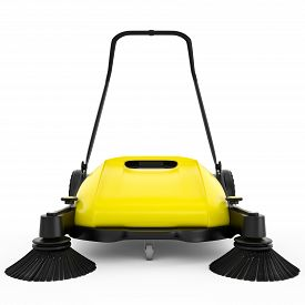 pic of sweeper  - Sweeper with black plastic and yellow metal on a white isolated background - JPG