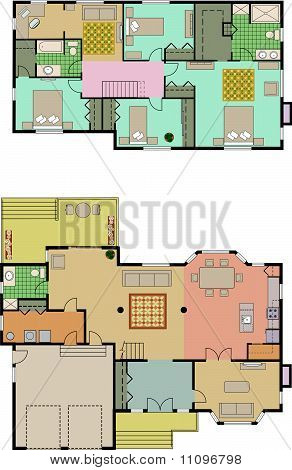 Vector drawing of 4 bedroom house