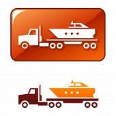 Truck delivers the boat. Vector icon