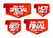 New year special offer, hot price, holiday best price, end of year final clearance, winter sale tags poster