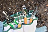 Detail of gardening tools in tool bag - outdoor