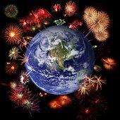 Fireworks Around Earth