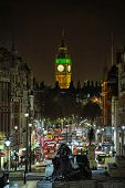 Looking Down Whitehall Towards Big Ben From Trafalgar Square, London, England, Uk, At Night