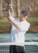 stock photo of tennis elbow  - Tennis player man in pain with elbow injury - JPG