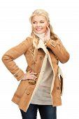 Beautiful Woman In Sheepskin Jacket