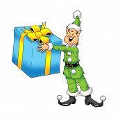 Happy Elf with gift
