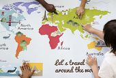 Kids Learning World Map with Continents Countries Ocean Geography poster