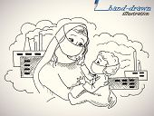 pic of nuclear family  - mother and child against industrial and nuclear waste  - JPG