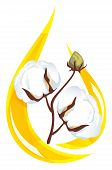 Cotton Seed Oil. Stylized Drop Of Oil And A Sprig Of Cotton Inside.