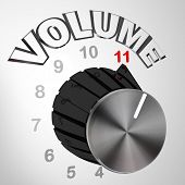 A volume dial or knob turned all the way to 11 surpassing and exceeding the normal maximum sound on