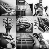 Rock guitar. Collage of close-up view parts of guitar, very popular musical instrument of the world. poster