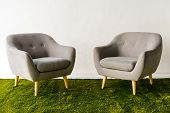 Armchairs On Green Carpet poster