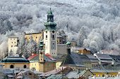 stock photo of banska  - Banska Stiavnica in winter historical mining town Slovakia UNESCO - JPG