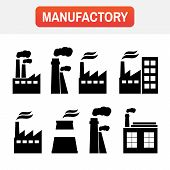 Icon Plant Manufactory. Set Of Industry Manufactory Building Icons poster