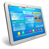 stock photo of tablet pc computer  - White tablet PC with blue interface on white background - JPG