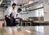 Chefs Cooking Food In Commercial Kitchen poster