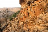 picture of dogon  - Ancient Dogon and Tellem houses on the Bandiagara escarpment in Mali - JPG