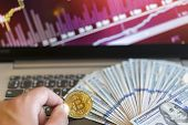 Bitcoin Price Increase Chart. Bitcoins Growth Chart. Bitcoins And New Virtual Money Concept. Growth  poster