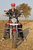 Portrait Of European Biker In India