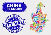 Engineering Tianjin City Map And Blue City Hall Scratched Seal Stamp. Bright Vector Tianjin City Map poster