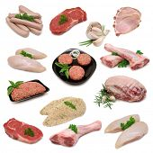 Raw Meat Sampler, variety of raw meat products isolated on white