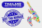 Engineering Koh Phi Don Map And Blue Best Thai Massage Distress Seal. Colored Vector Koh Phi Don Map poster