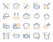 Cooking Line Icons. Boiling Time, Frying Pan And Kitchen Utensils. Fork, Spoon And Knife Line Icons. poster