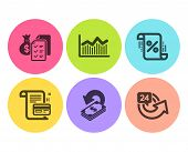 Accounting Wealth, Cashback And Payment Card Icons Simple Set. Money Diagram, Loan Percent And 24 Ho poster