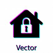 Black House Under Protection Icon Isolated On White Background. Home And Lock. Protection, Safety, S poster