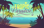 Palm Tree Beach. Ocean Sunset With Sand Coast Beach Waves And Palm Trees, Maldives Tropical Backgrou poster